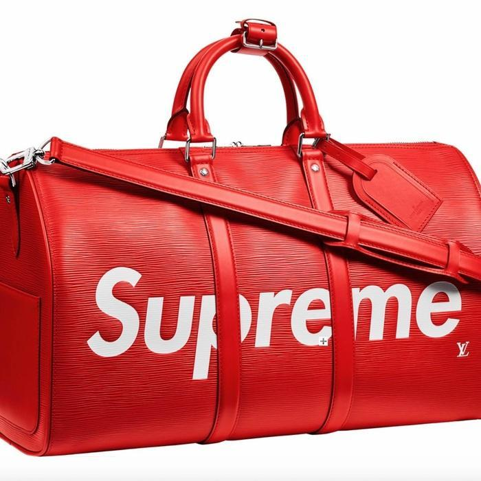 Fancy Louis Vuitton X Supreme Red Epi Keepall Bandouliere Duffle Bag 45