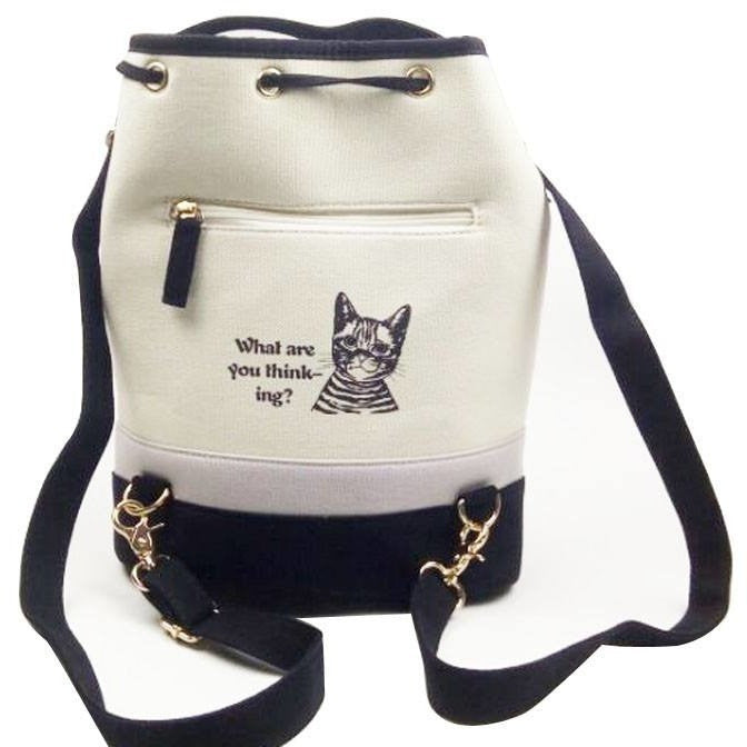 Curious Cat Canvas Bucket Bag