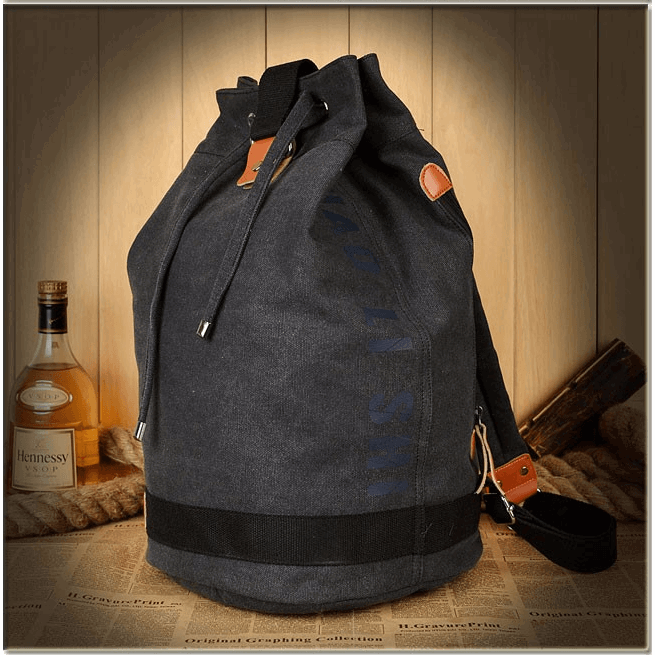 Canvas Drawstring Bucket Backpack