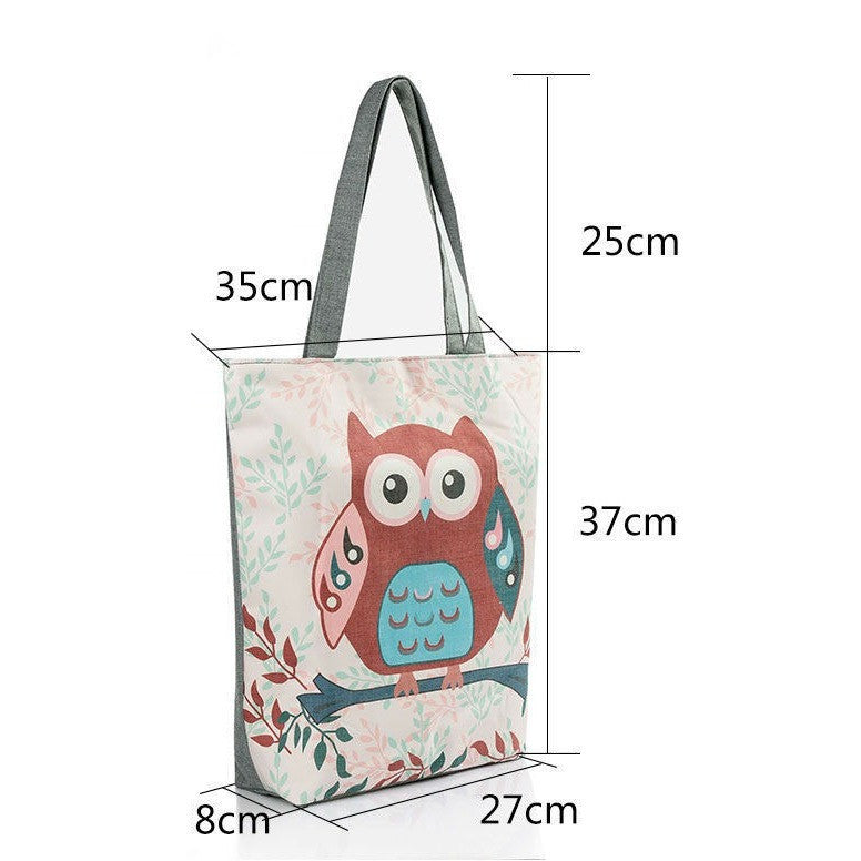 Floral And Owl Printed  Casual Tote