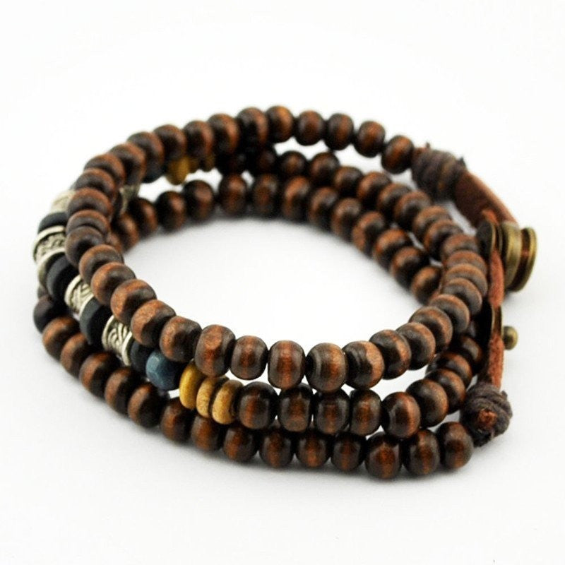Adjustable 6MM  Wood & Leather Bracelet