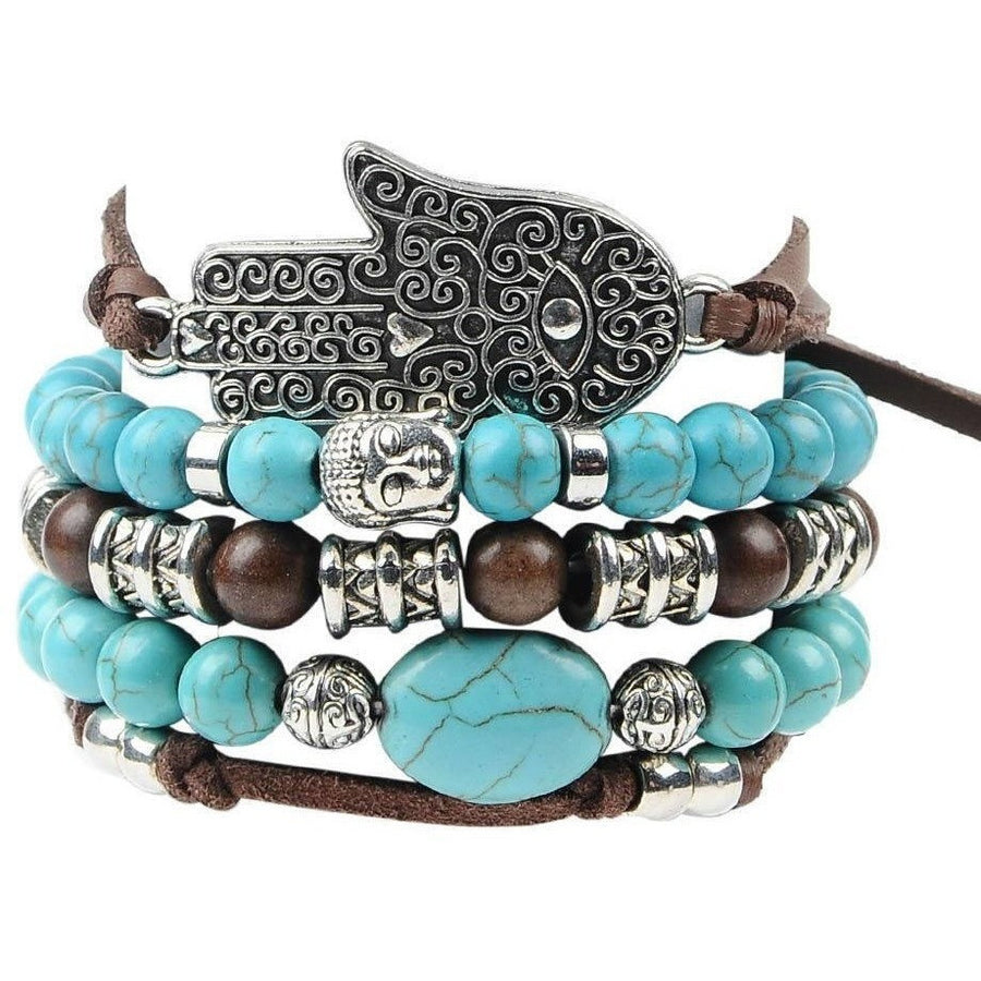 Artilady  5pcs Leather Boho Bracelet