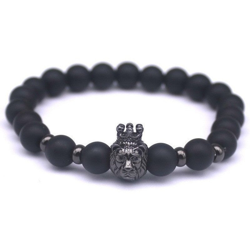Black Stone Gold Silver & Black Lion Head Bead Bracelets