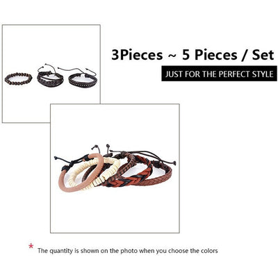 GOOD PICKNEY™ Chain & Link Bracelets Multilayer Bead and Leather Bracelet