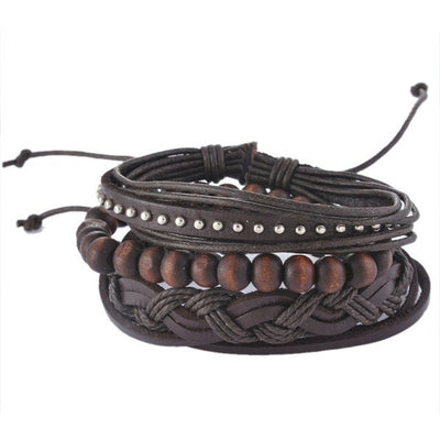 GOOD PICKNEY™ Chain & Link Bracelets UP08122 Multilayer Bead and Leather Bracelet