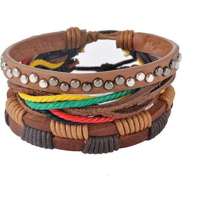 GOOD PICKNEY™ Chain & Link Bracelets UP08123 Multilayer Bead and Leather Bracelet