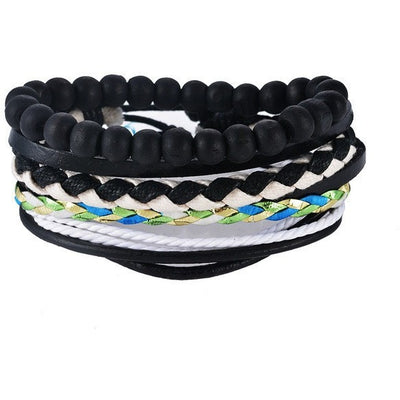GOOD PICKNEY™ Chain & Link Bracelets UP08125 Multilayer Bead and Leather Bracelet