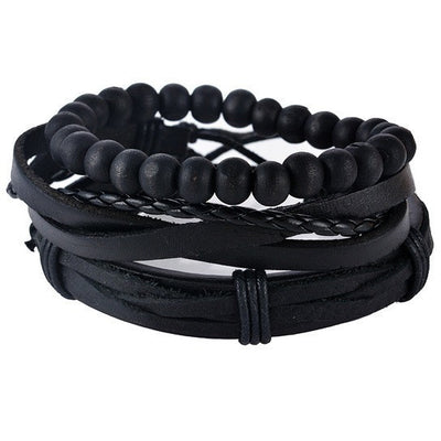 GOOD PICKNEY™ Chain & Link Bracelets UP08126 Multilayer Bead and Leather Bracelet