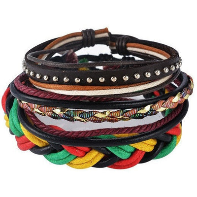 GOOD PICKNEY™ Chain & Link Bracelets UP08127 Multilayer Bead and Leather Bracelet