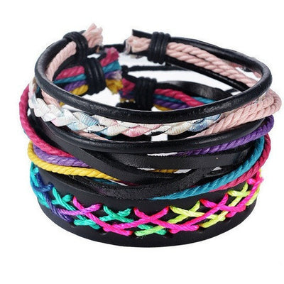 GOOD PICKNEY™ Chain & Link Bracelets UP08128 Multilayer Bead and Leather Bracelet