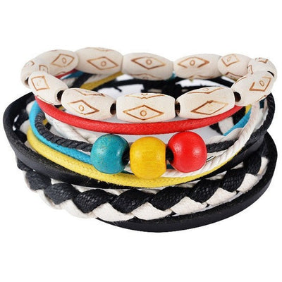 GOOD PICKNEY™ Chain & Link Bracelets UP08131 Multilayer Bead and Leather Bracelet
