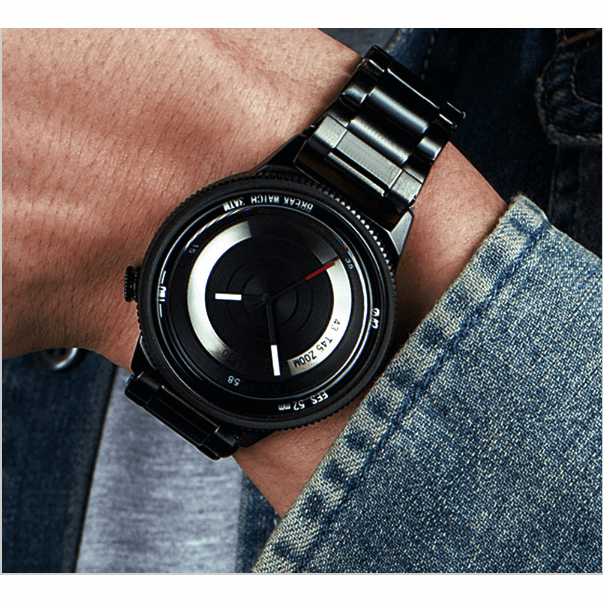 GOOD PICKNEY™ Mens Watch Black Steel Strap Photography Inspired WristWatch