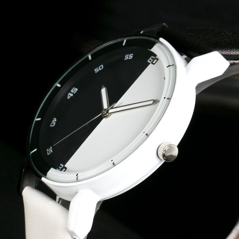 Black And White Dial Quartz Watch