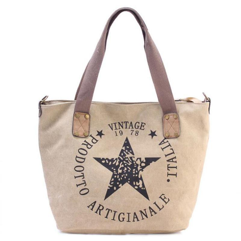 Bearberry Big Star Vintage Canvas Tote
