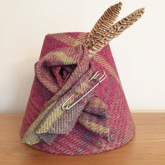 pink tweed coolie lampshade with feathers