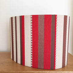 red white pleated silk oval lampshade