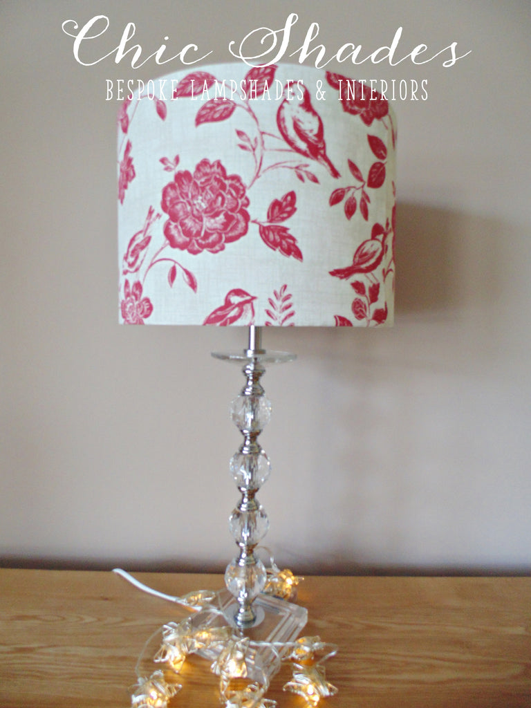 Red bird and flowers lampshade chic shades red bird and flowers lampshade mightylinksfo
