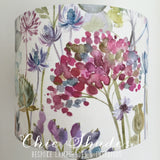 Voyage Hedgerow Pink Purple Flowers Cream Lampshade