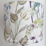 Hedgerow Pink Purple Flowers Cream Lampshade