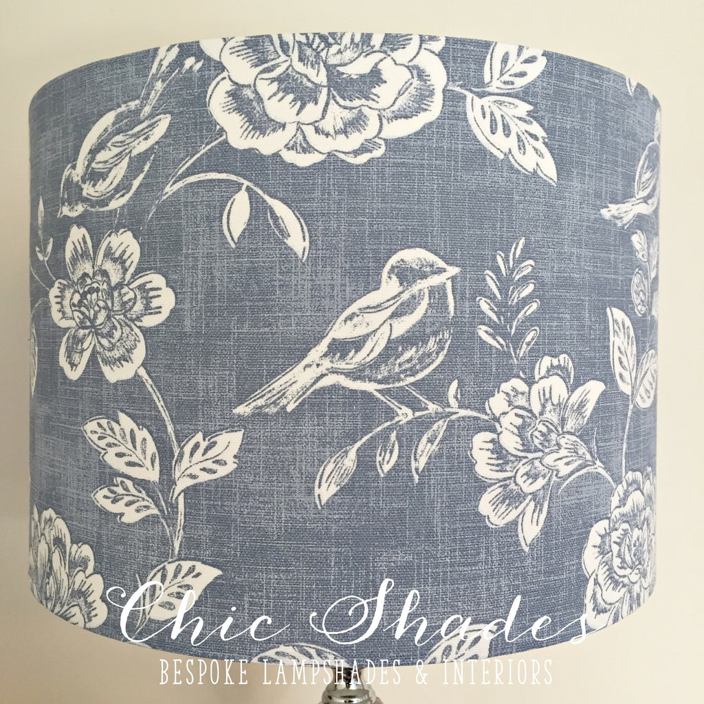 Blue Bird and Flowers Lampshade