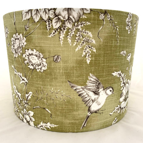 Finch Toile Bird Green and Grey Lampshade