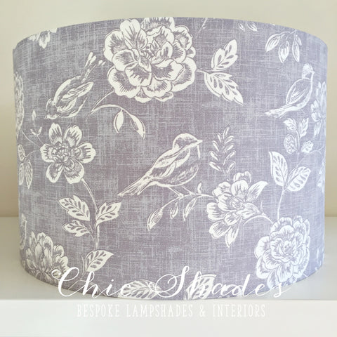 Lavender Bird and Flowers Lampshade