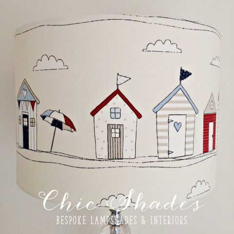 Beach Hut Red Blue Lampshade