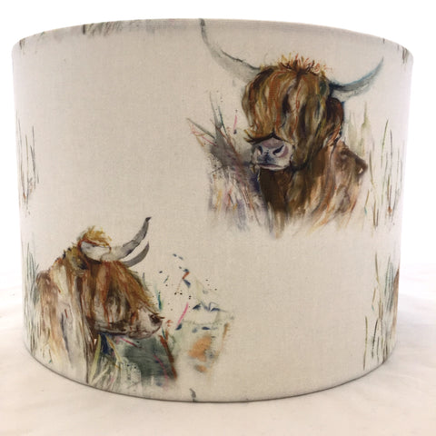 Voyage Highland Coo Fabric Lampshade