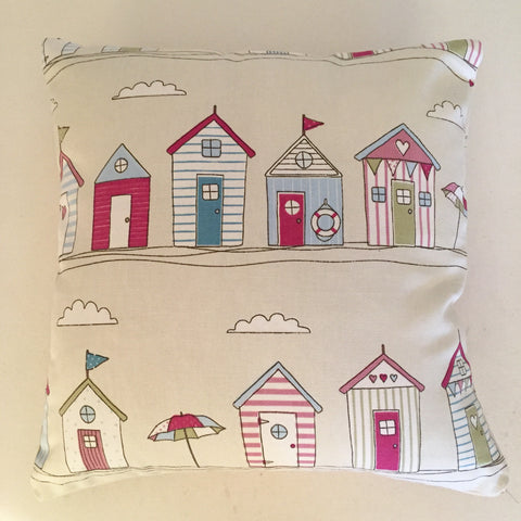 Beach Hut Pink Cushion