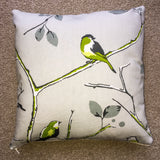Garden Bird Green Cushion 14""