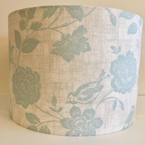 Duck Egg Blue Bird and Flowers Lampshade