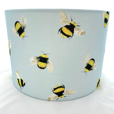 Bees Duck Egg Blue Lampshade