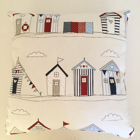 Beach Hut Red Blue Cushion