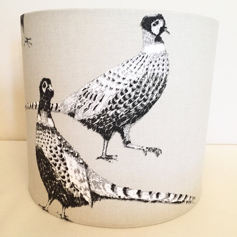 Pheasant Lampshade Black & White