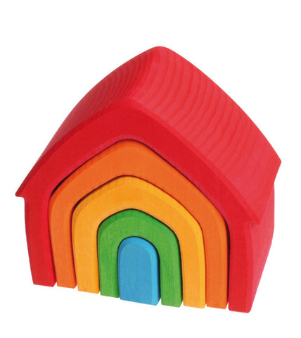 Grimm's Wooden Toys | Multi-Coloured Stacking House - The Mini Life, Toronto