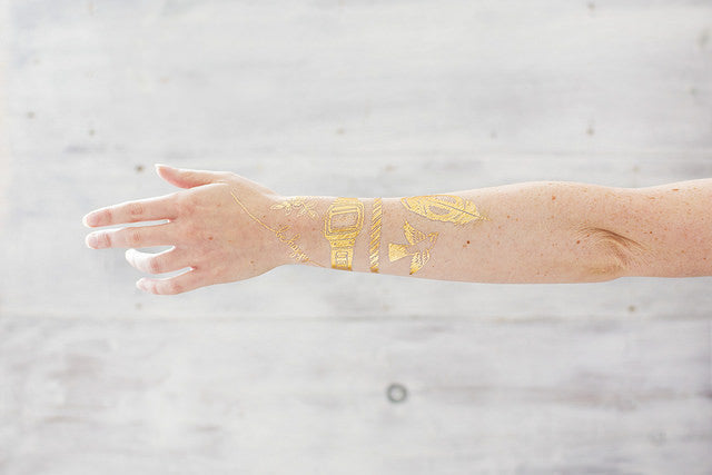 Gold Friendship Bracelet Temporary Tattoo