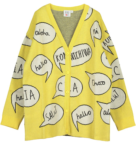 Beau Loves - Yellow Speech Bubble Oversized Knit Cardigan