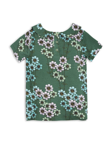 Mini Rodini SS17 | Daisy Collar Tee - Green | The Mini Life - Canada