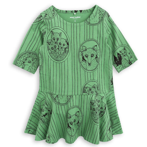 Mini Rodini Fox Family Dress - Green