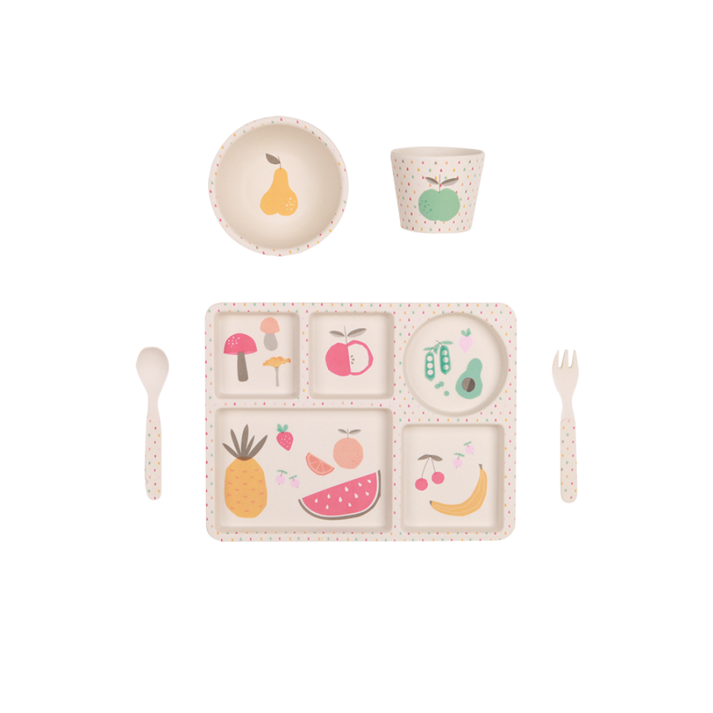 Love Mae - Eat Your Greens 5 Piece Bamboo Dinner Set | The Mini Life