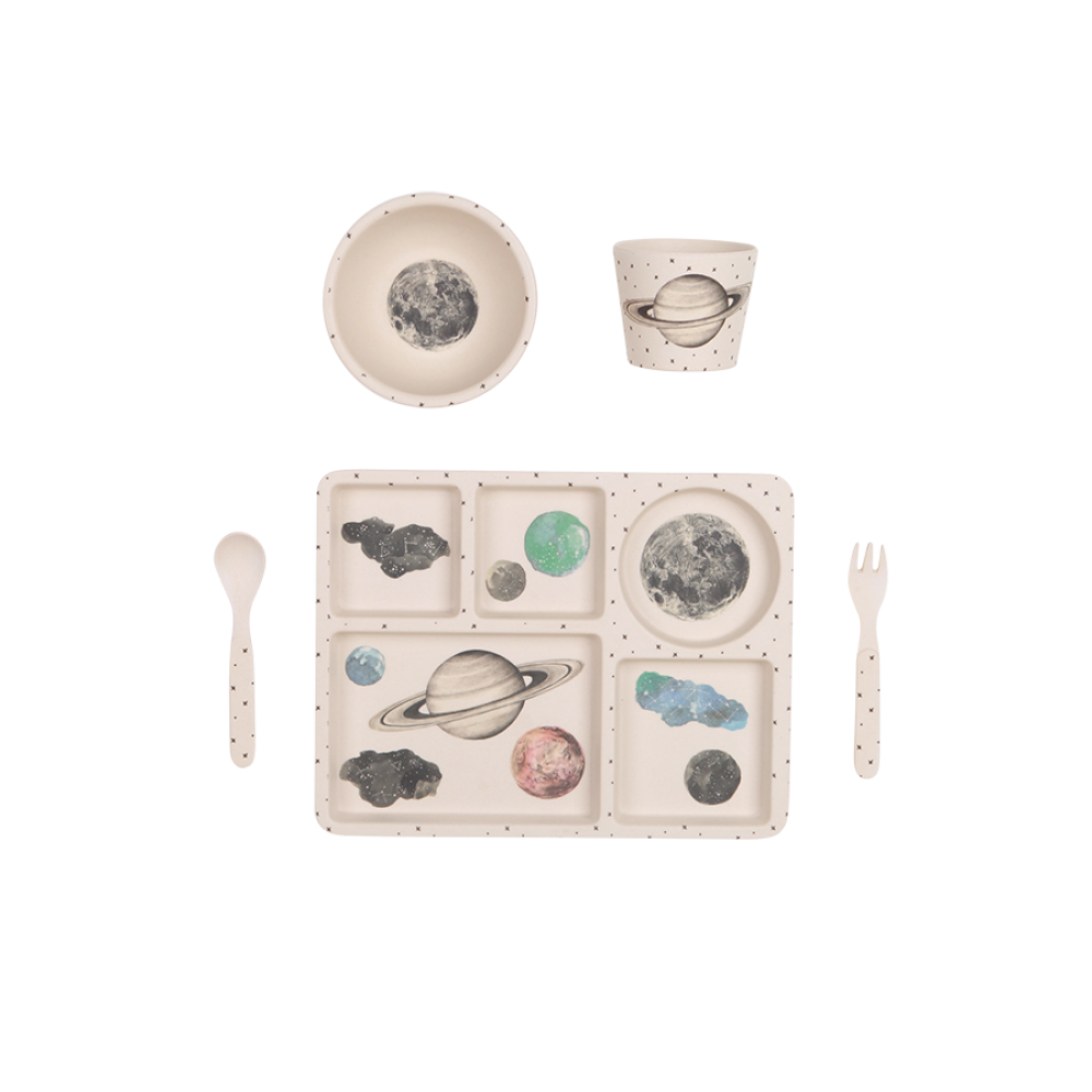 Love Mae | Moon and Stars- 5 Piece Bamboo Dinner Set | The Mini Life