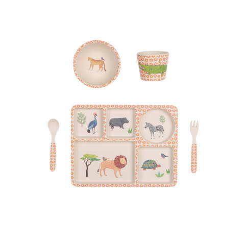Love Mae | On Safari - 5 Piece Bamboo Dinner Set | The Mini Life