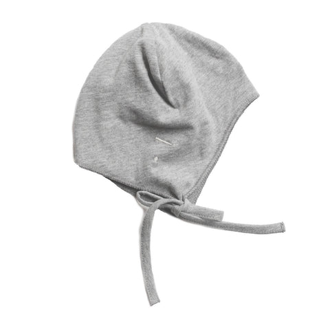 Gray Label | Grey Melange Baby Hat with Strings | The Mini Life