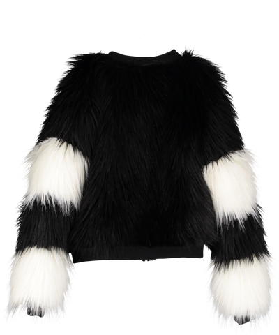 Beau Loves Fur Bomber Coat - Black/Natural