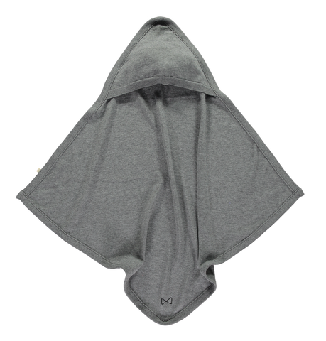 Mini Sibling - Grey Melange Knit Hooded Blanket