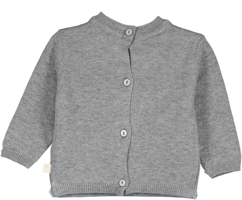 Mini Sibling - Grey Reversible Knit Sweater-Cardigan
