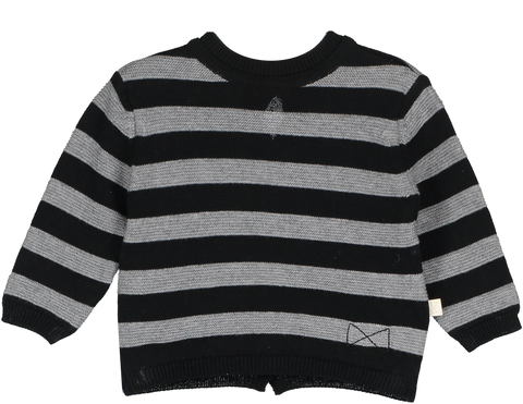 Mini Sibling - Stripes Reversible Knit Sweater-Cardigan