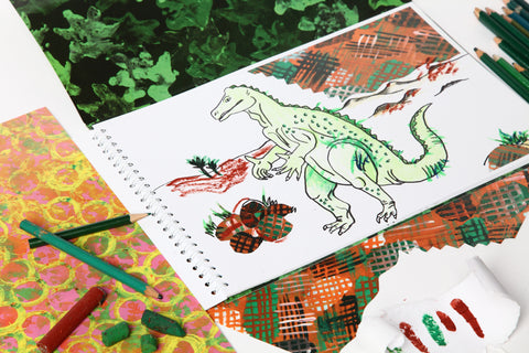 Dinosaur Collage Colouring Book