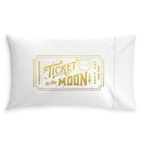 Pop Factory | Golden Ticket to the Moon Pillow Case | www.theminilife.com