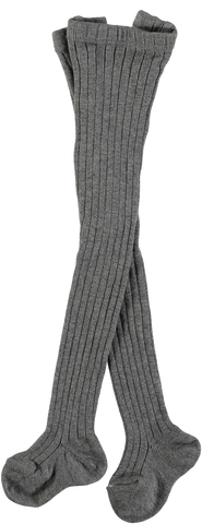Mini Sibling - Grey Melange Ribbed Tights